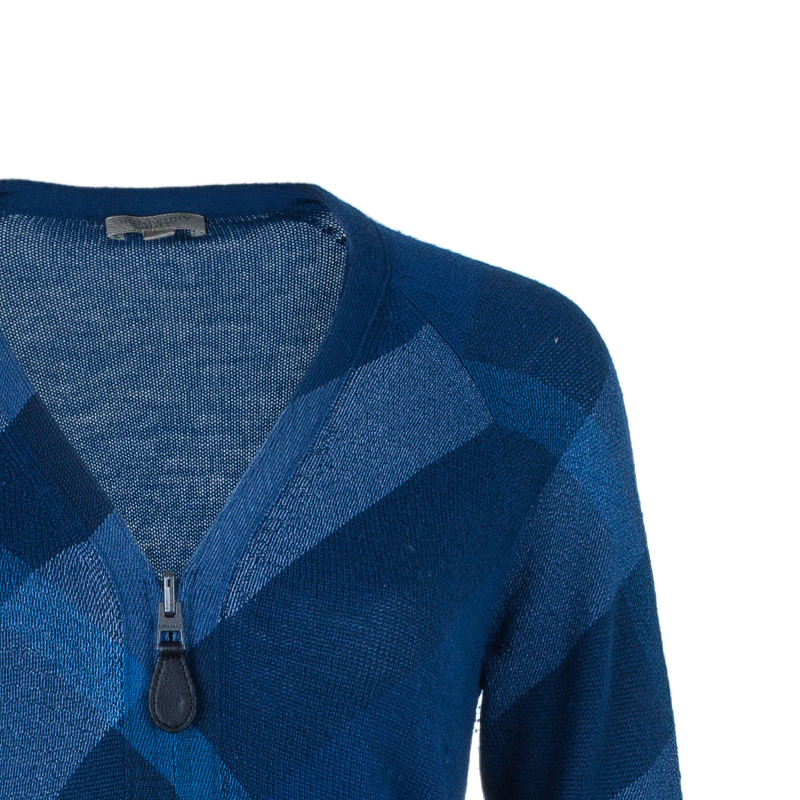 Burberry Blue Check Wool Cashmere Zip Front Cardigan M