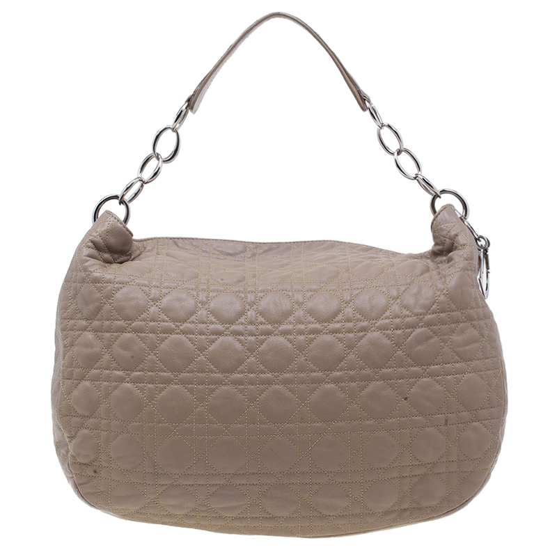 Dior Nude Cannage Quilted Leather Lady Dior Hobo