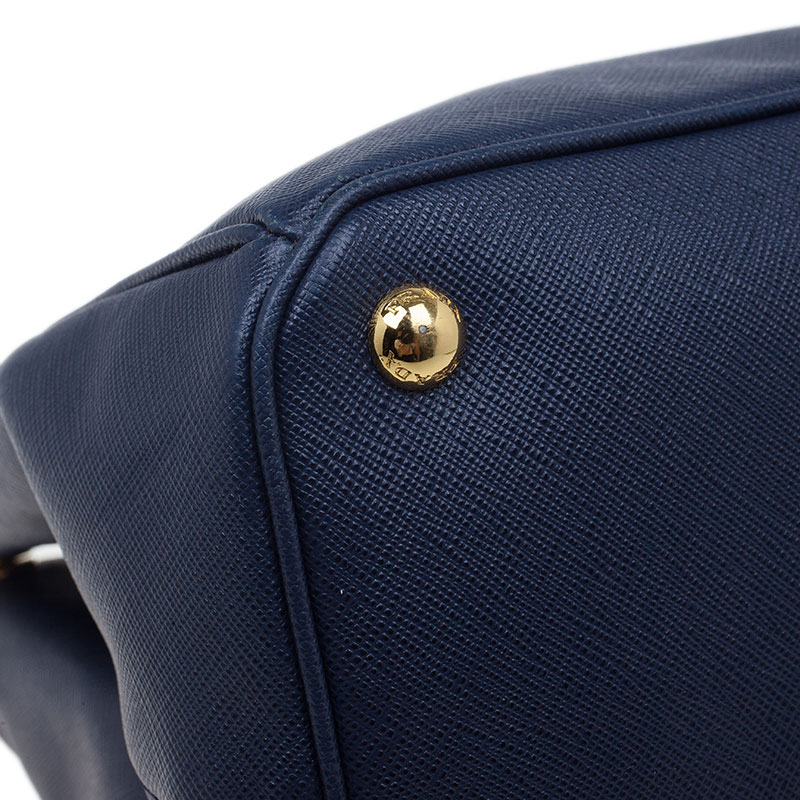 Prada Navy Blue Saffiano Lux Leather Large Tote Bag