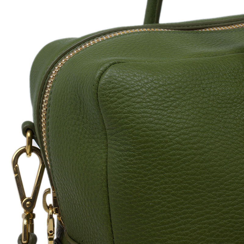 Prada Edera Green Vitello Daino Satchel