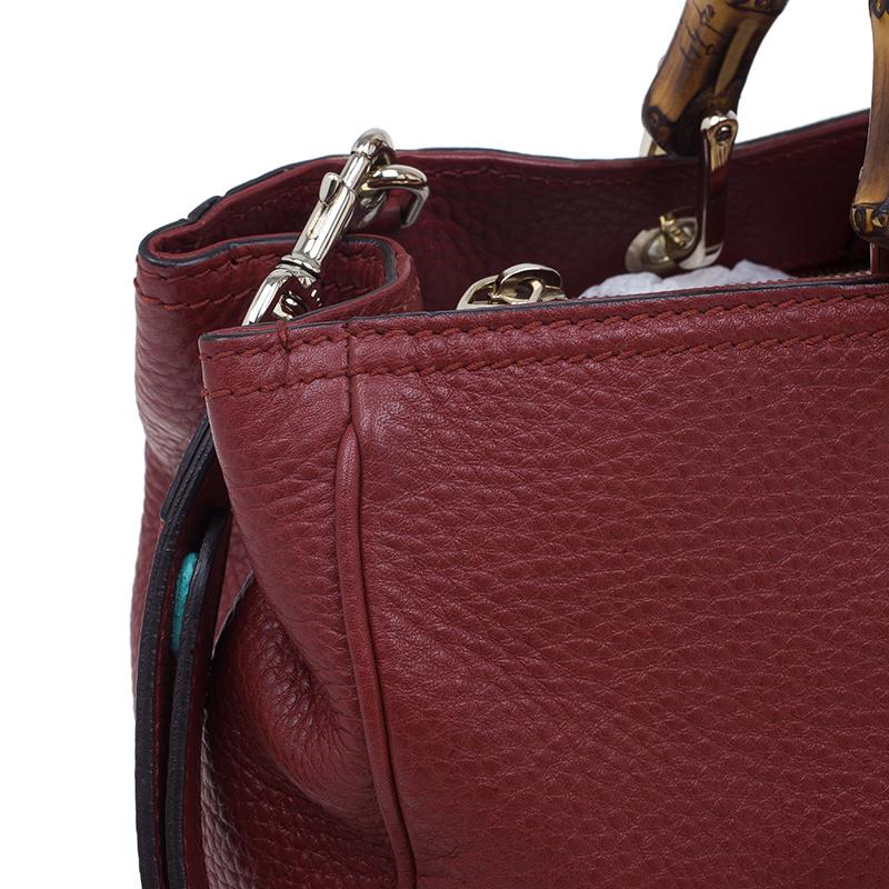 Gucci Red Leather Bamboo Medium Shopper Tote