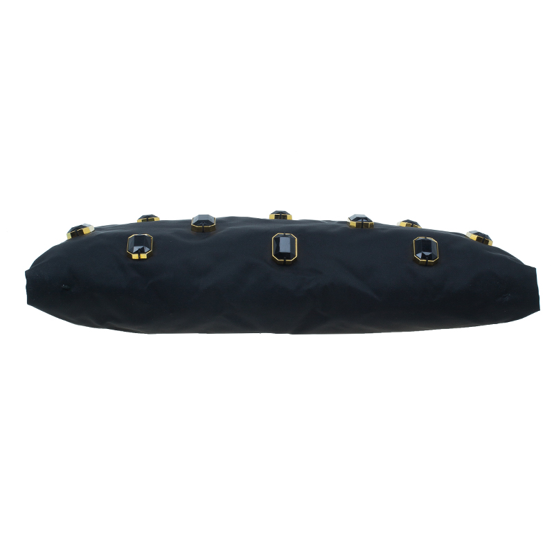 Prada Black Satin Jewel Gem Clutch