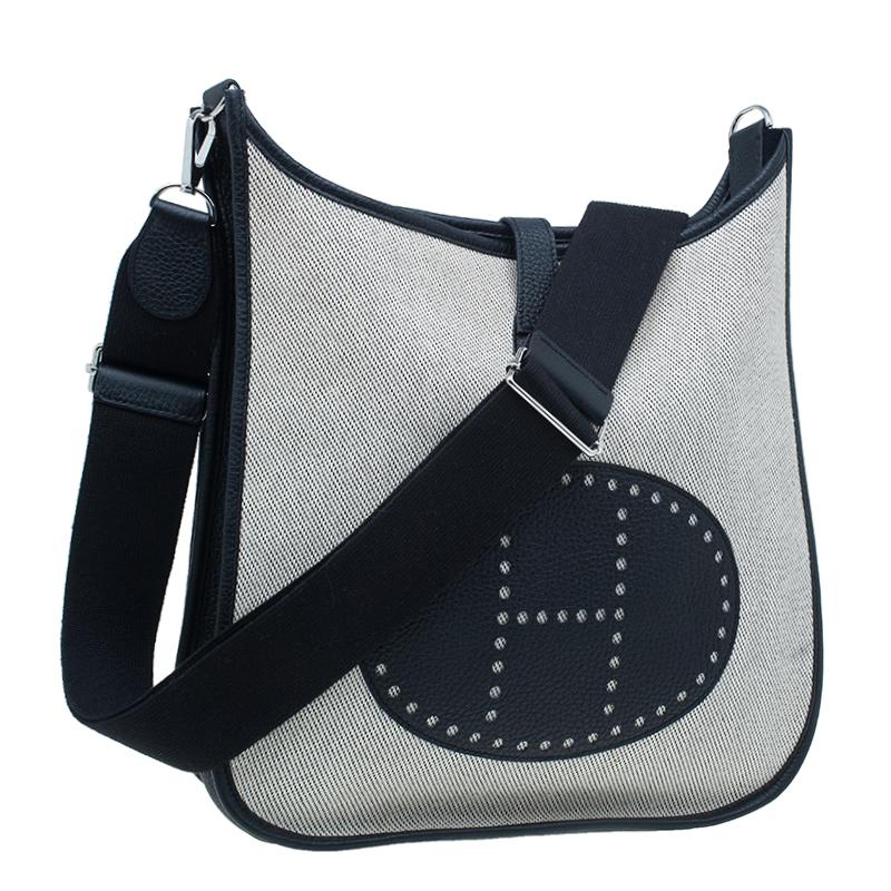 Hermes Beige and Black Clemence Leather GM Evelyne III Ucre Twill Messenger Bag