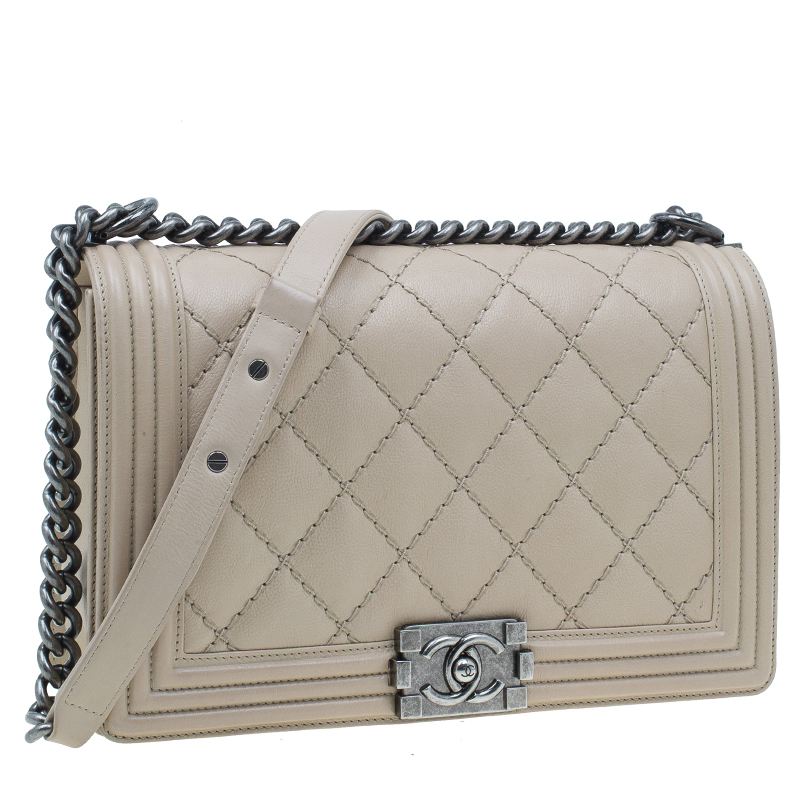 Chanel Beige Leather Large Quilted Stitched Boy Bag