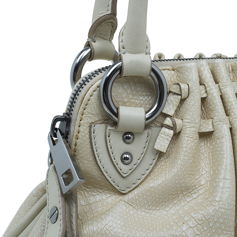 Marc Jacobs White Leather Snake Embossed Cecilia Shoulder Bag