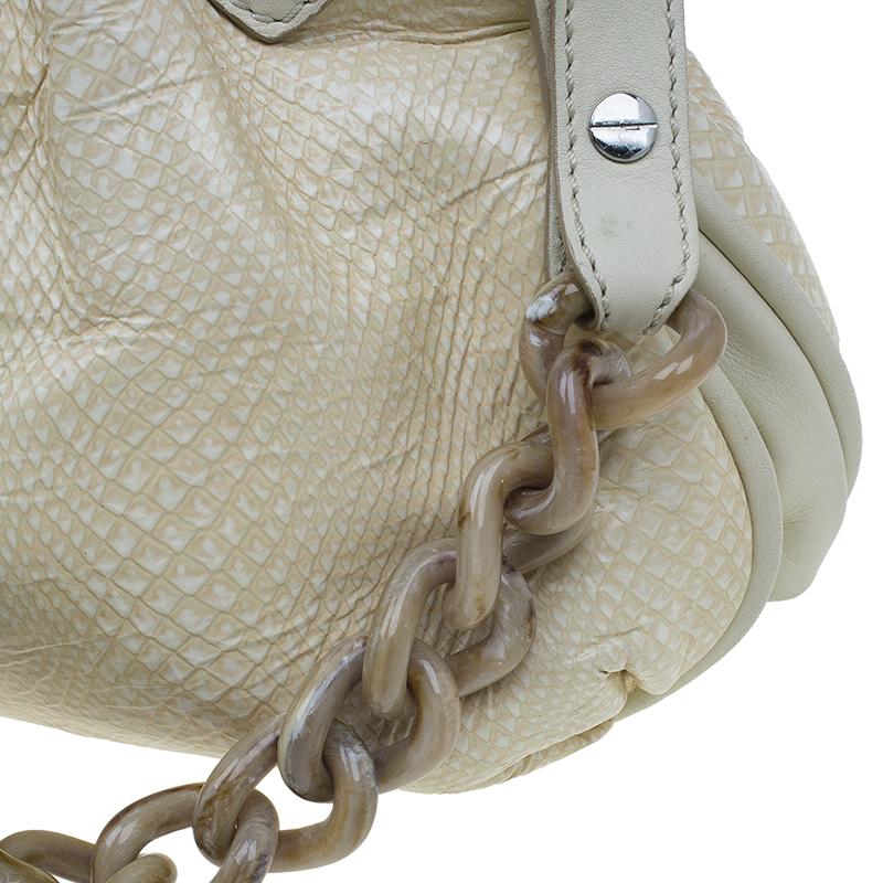 Marc Jacobs White Leather Snake Embossed Cecilia Shoulder Bag