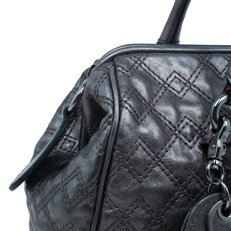 Dolce and Gabbana Metallic Silver Leather Susanne Doc Satchel
