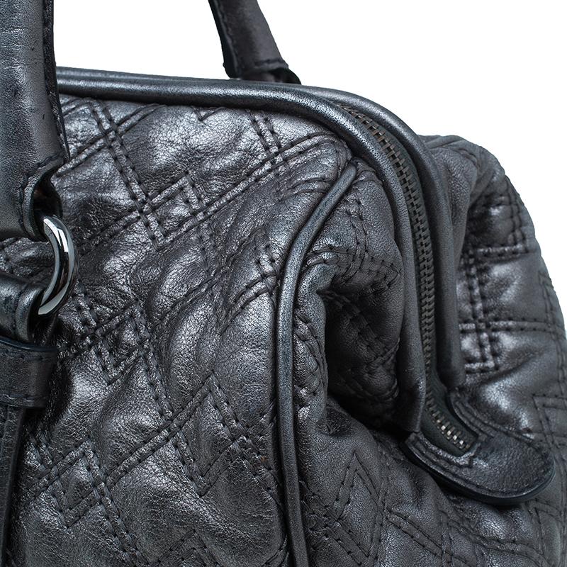 Dolce and Gabbana Metallic Silver Leather Susanne Doc Satchel