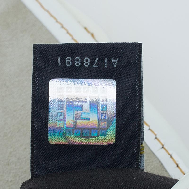 Fendi White Leather Patent Trim B Shoulder Bag