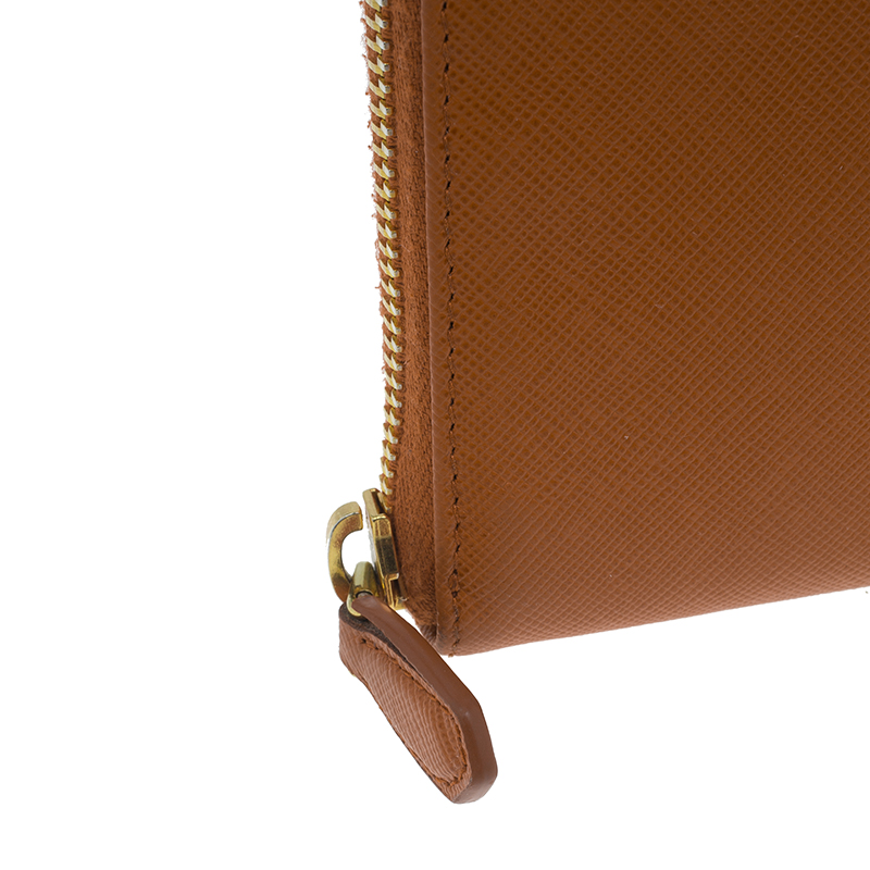 Prada Orange Saffiano Metal Oro Side-Zip Wallet