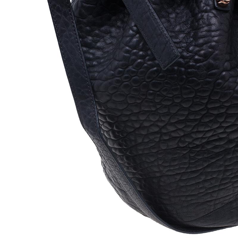 Alexander Wang Black Diego Textured Leather Bucket Bag