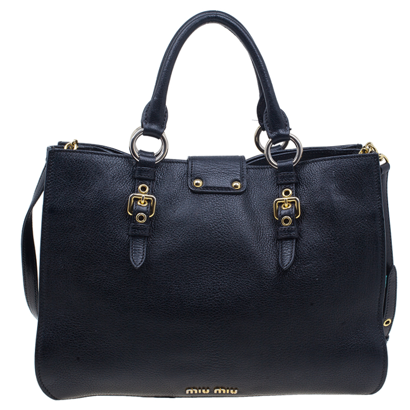 Miu Miu Black Leather Madras Executive Tote