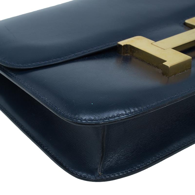 Hermes Blue De Malte Epsom Calfskin Box Constance Shoulder Bag