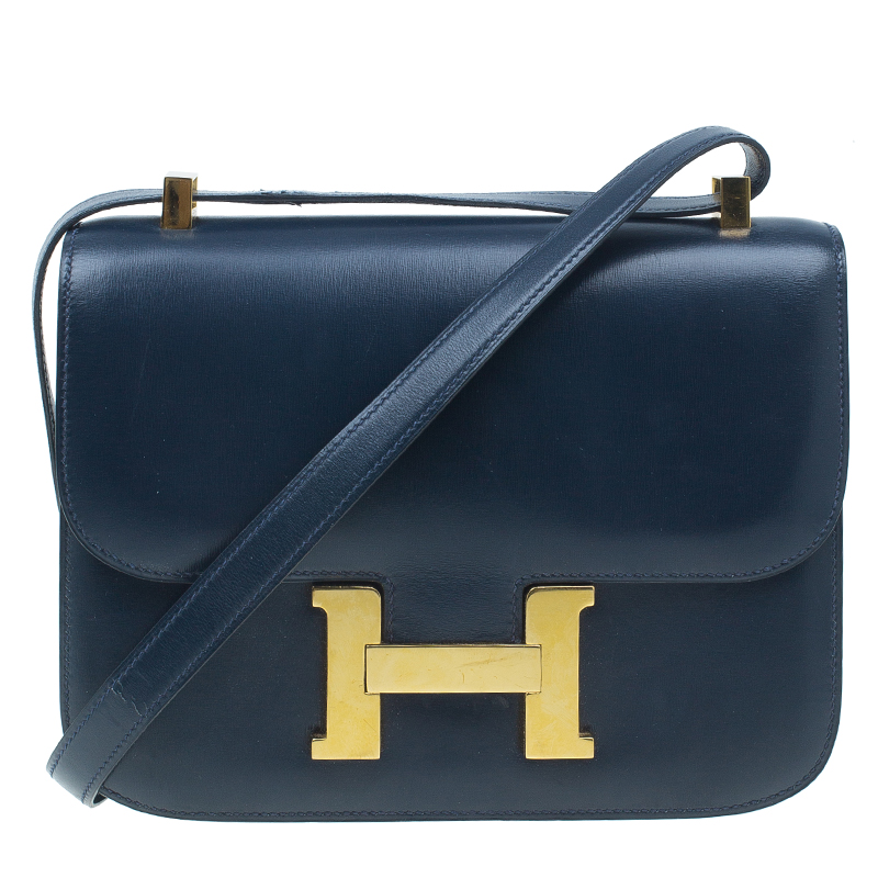 Hermes Blue De Malte Epsom Calfskin Box Constance Shoulder Bag