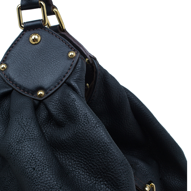 Louis Vuitton Black Perforated Leather Large Mahina Hobo