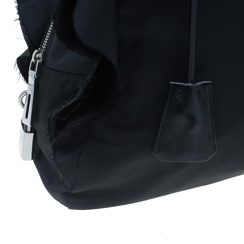 Prada Black Tessuto Ruffle Trim Bowler Bag
