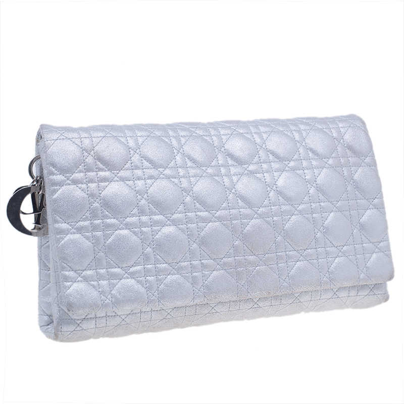 Dior Silver Quilted Goatskin Cannage Clutch