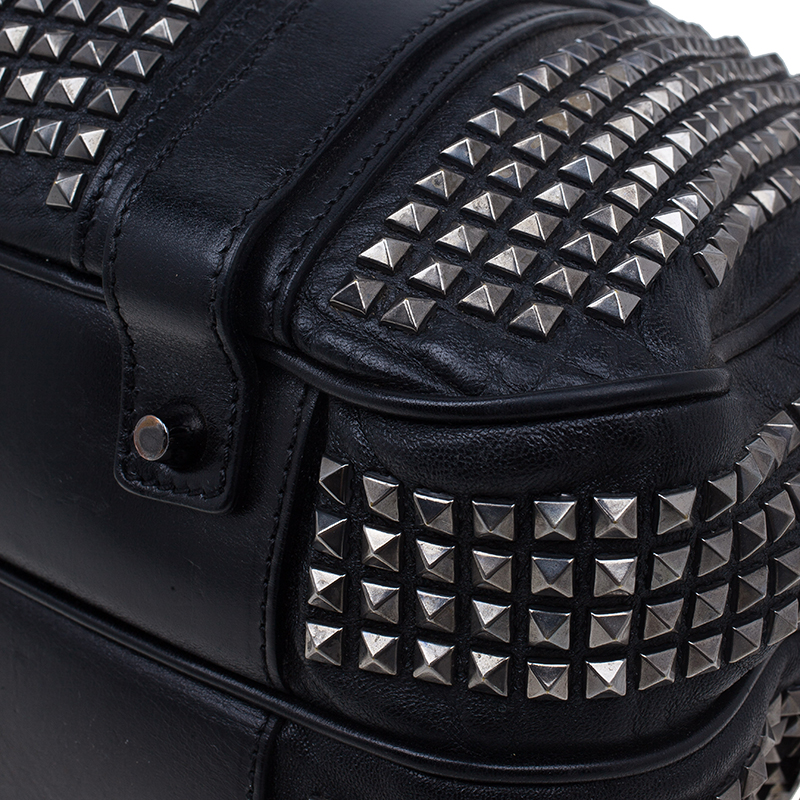 Burberry Black Leather Prorsum Studded Knight Satchel Bag