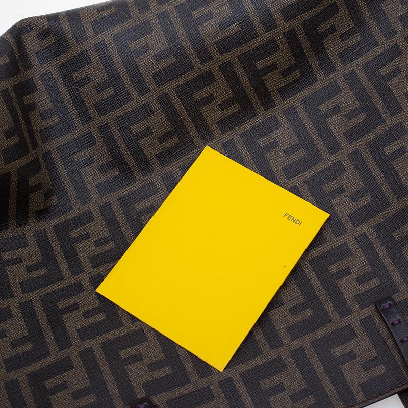 Fendi Brown Zucca Coated Canvas Spalmati Roll Shopper Tote