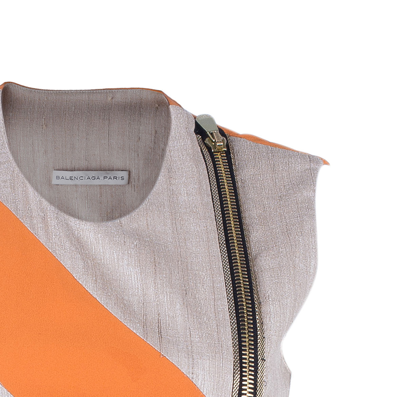 Balenciaga Linen Colorblock Shift Dress S