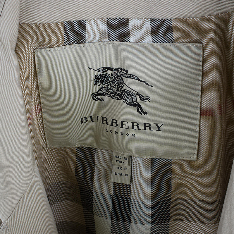 Burberry Beige Twill Long Trench Coat M