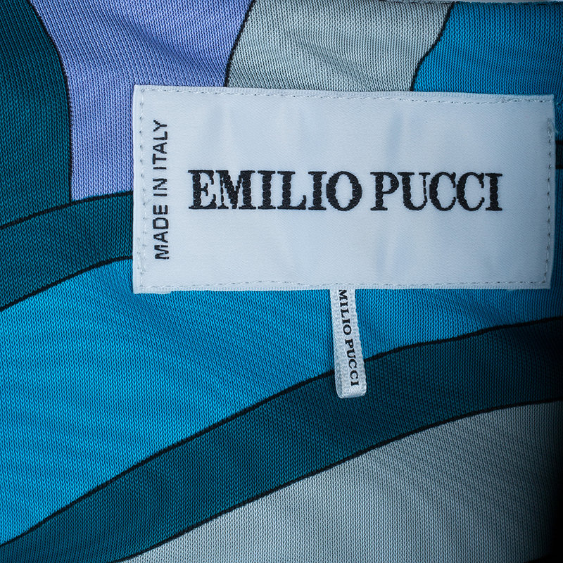 Emilio Pucci Abstract Blue Jersey Kaftan Top M