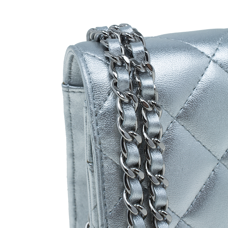 Chanel Silver Quilted Leather Classic CC Woc Flap Bag