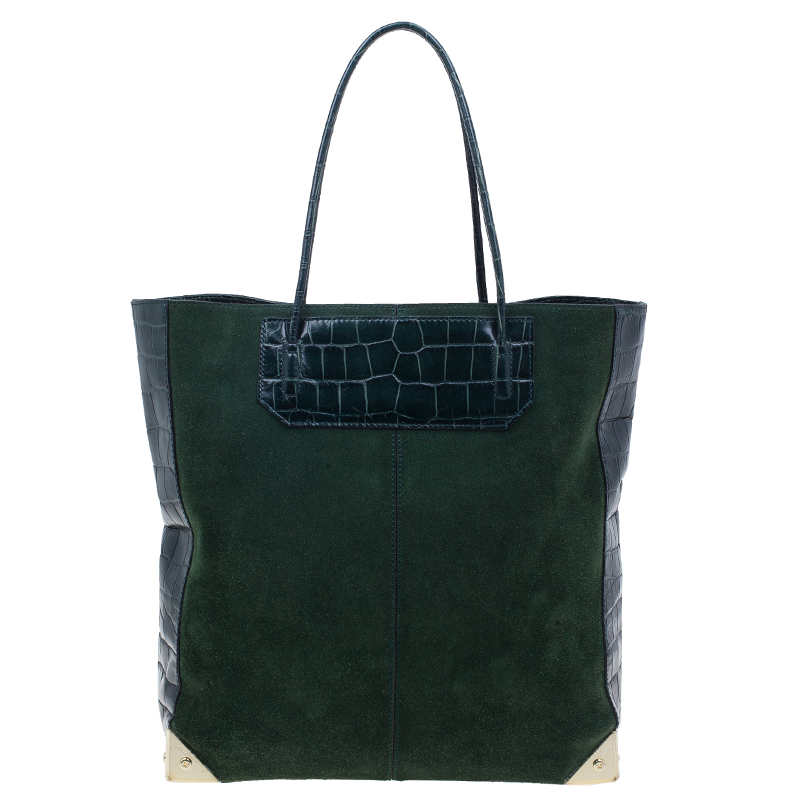 Alexander Wang Serpentine Green Suede And Croc Embossed Leather 'Prisma' Shopper Tote