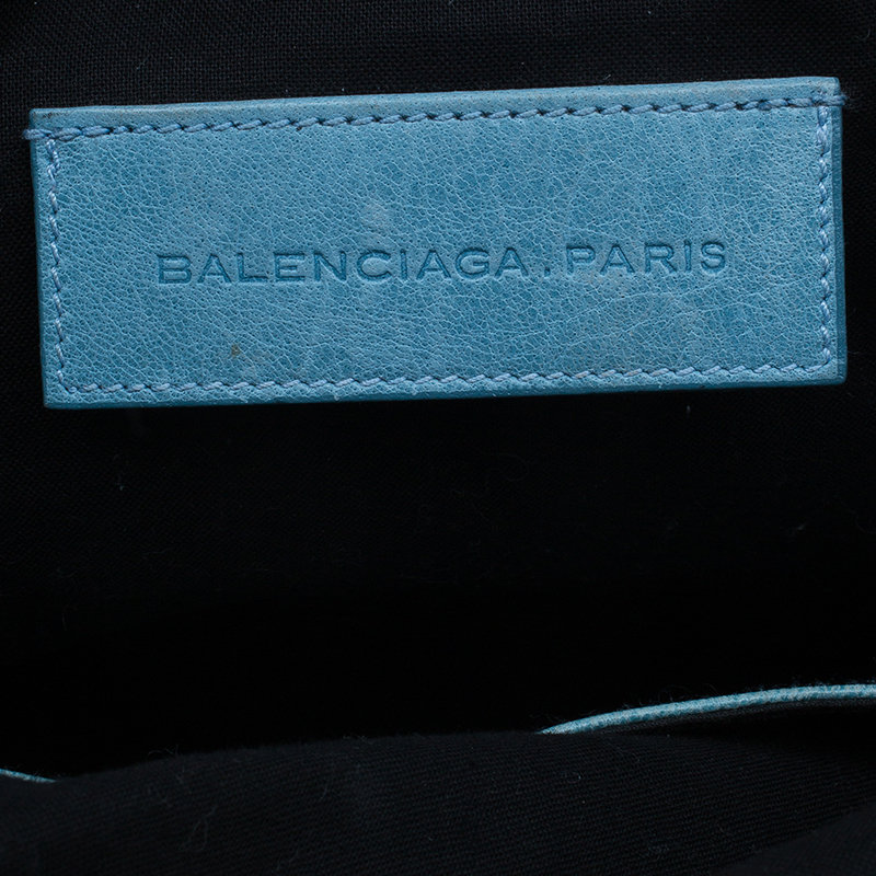 Balenciaga Sky Blue Lambskin Giant Brief Tote