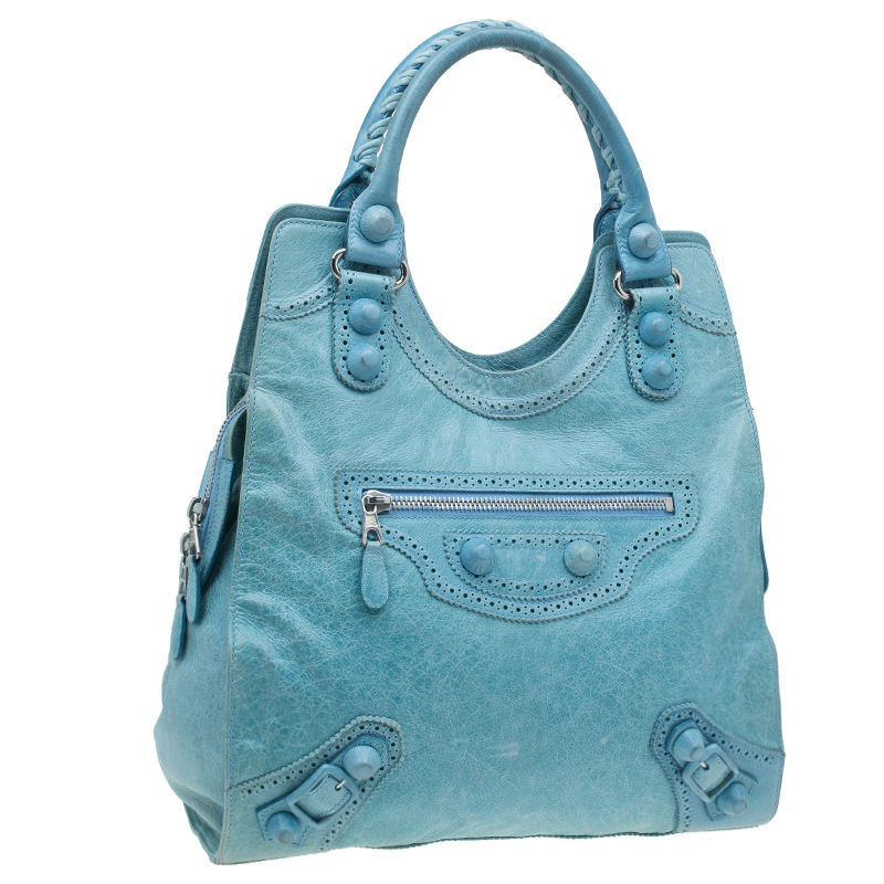 Balenciaga Sky Blue Lambskin Giant Brief Tote