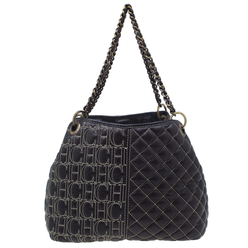 Carolina Herrera Brown Leather Quilted Tote