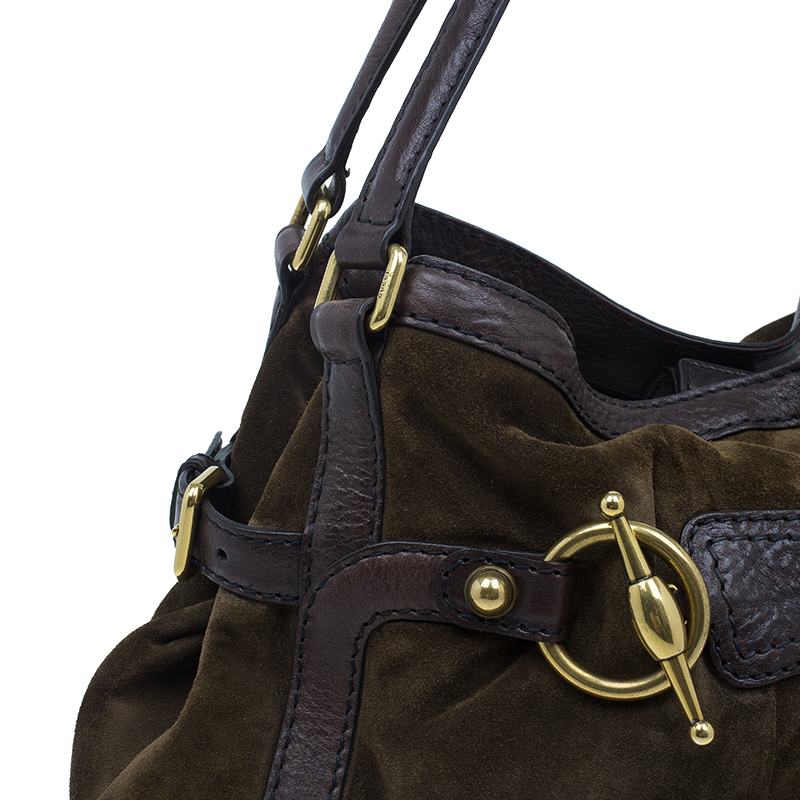 Gucci Brown Suede Horsebit Jockey Tote