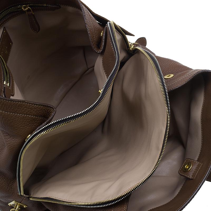 Prada Cocoa Brown Vitello Daino Double Zipped Satchel
