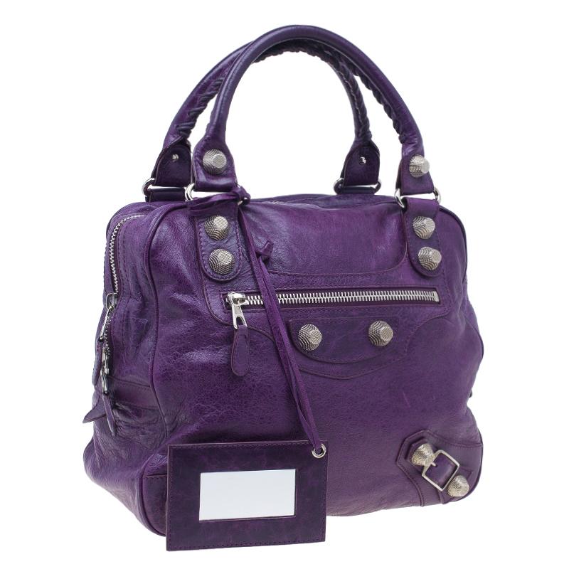 Balenciaga Purple Leather Giant Street Bowler Bag