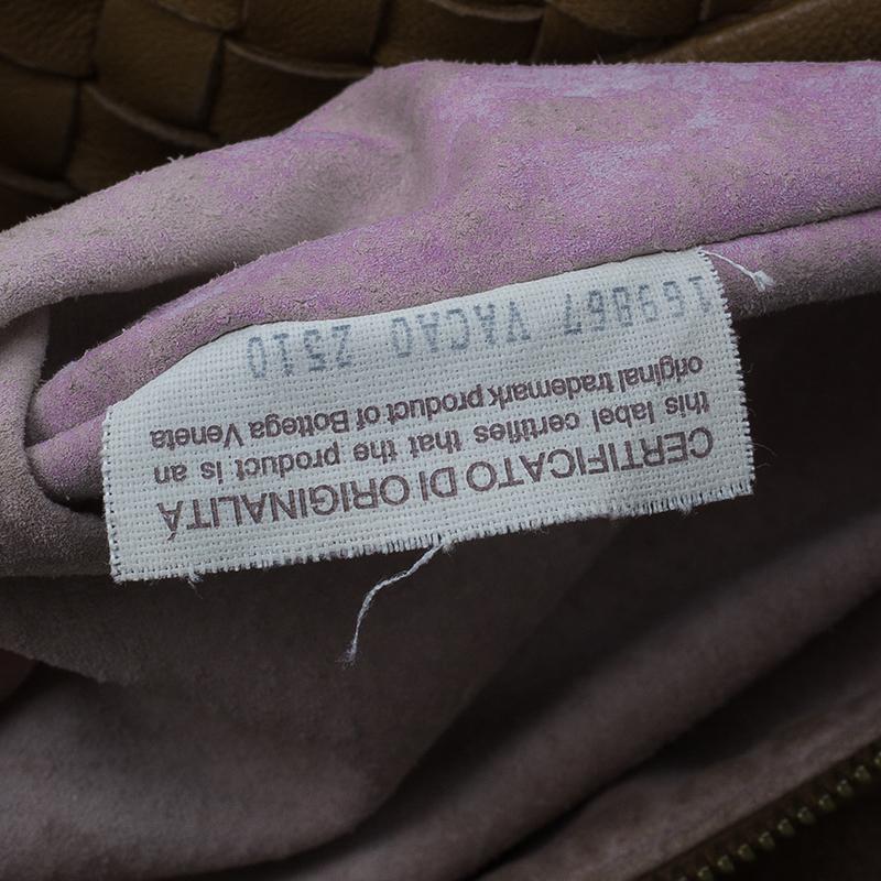 Bottega Veneta Brown Nappa Leather Intrecciato Large Chain Veneta Hobo