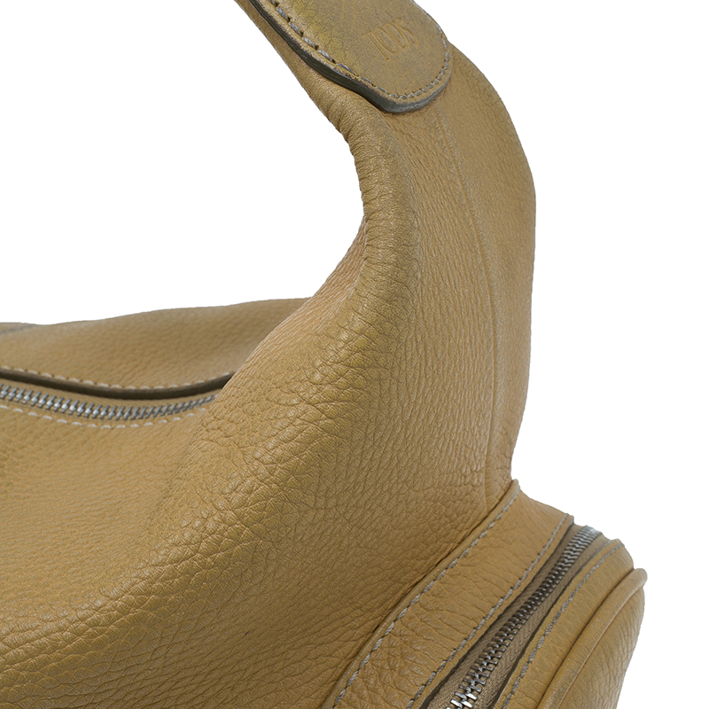 Tod's Camel Leather Pebbled Charlotte Hobo