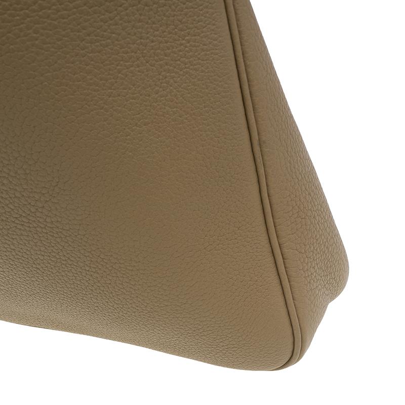 Hermes Beige Clemence Leather Massai Shoulder Bag