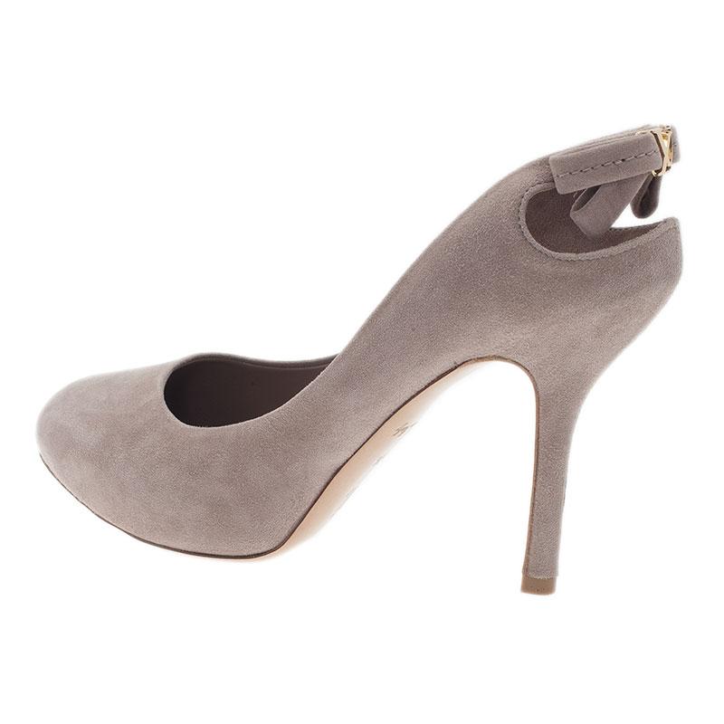 Louis Vuitton Beige Suede Slingback Sandals Size 35.5