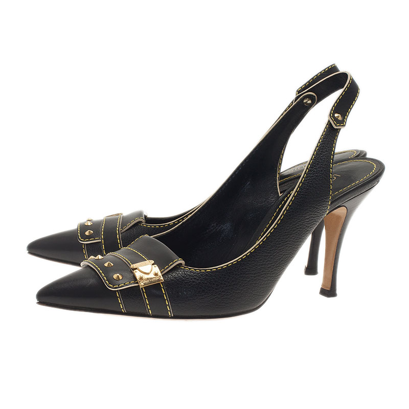 Louis Vuitton Black Leather Pointed Toe Slingback Sandals Size 38