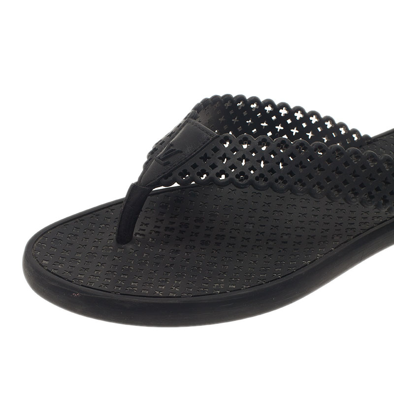 Louis Vuitton Black Perforated Rubber Tatoo Thong Sandals Size 37.5