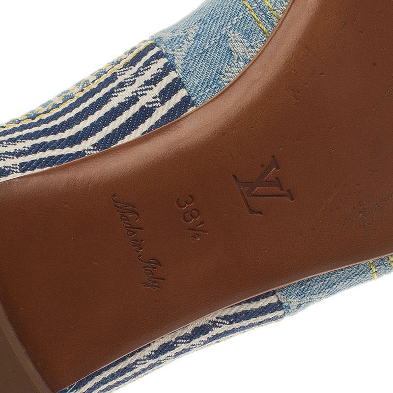 Louis Vuitton Blue Monogram Denim Ballet Flats Size 38.5