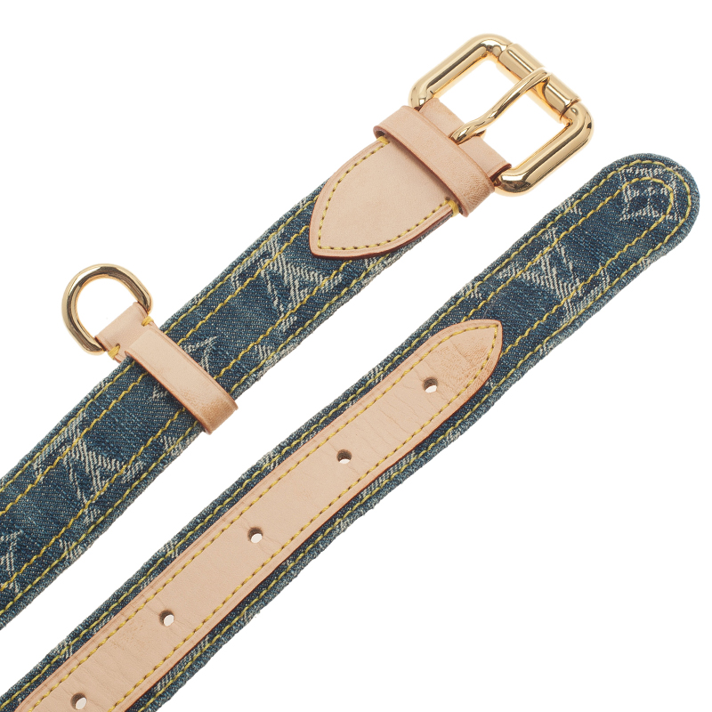 Louis Vuitton Blue Monogram Denim Belt 100CM