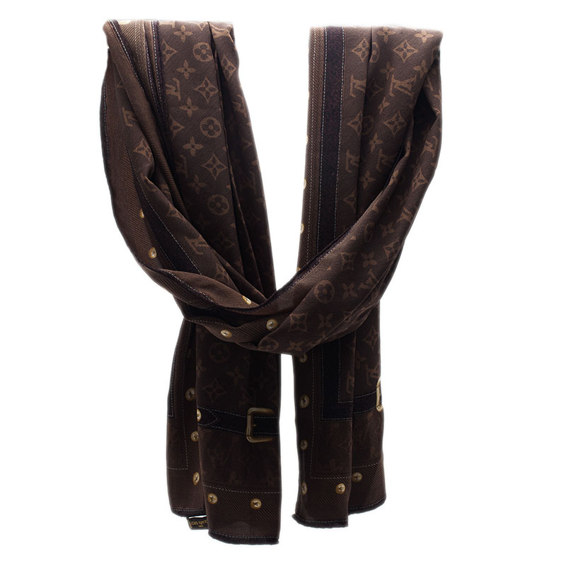 Louis Vuitton Brown Monogram Silk Stole