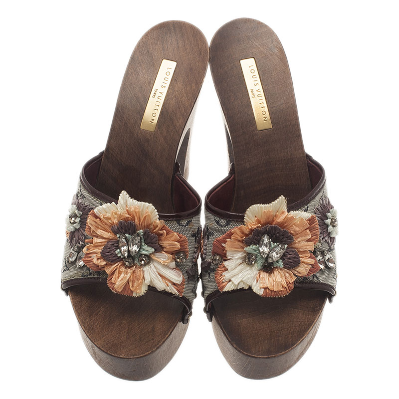 Louis Vuitton Floral Embellished Slides Size 37.5