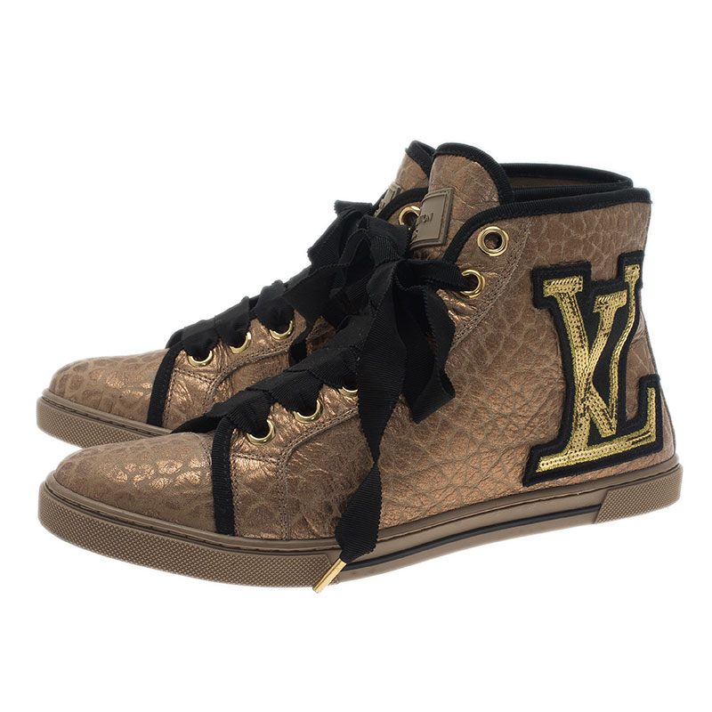 Louis Vuitton Gold Embossed Leather High Top Sneakers Size 37.5