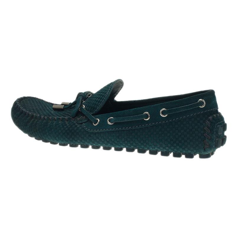 Louis Vuitton Green Petit Damier Suede Navajo Loafers Size 42