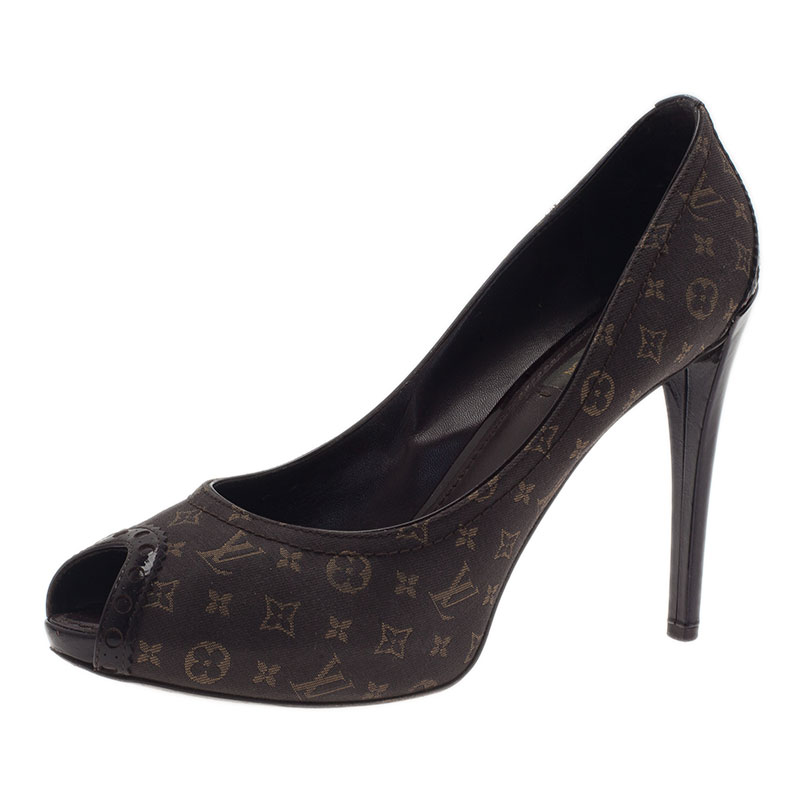 Louis Vuitton Monogram Idylle Canvas Romance Peep Toe Pumps Size 39