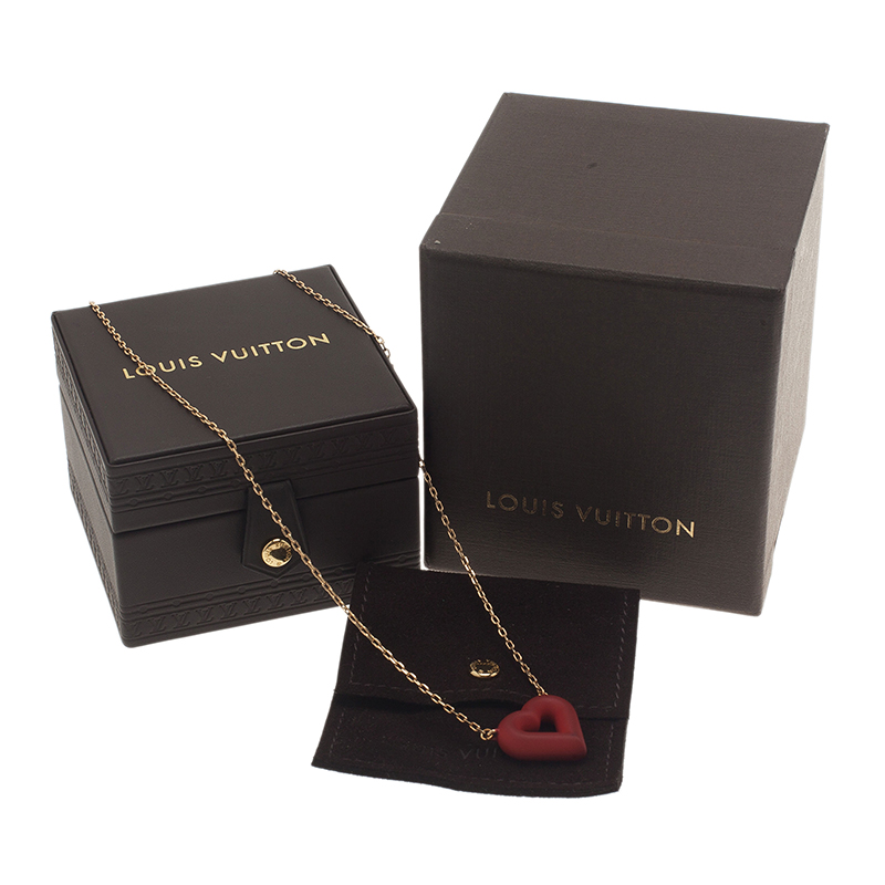 Louis Vuitton LV & V Red Gold Tone Necklace