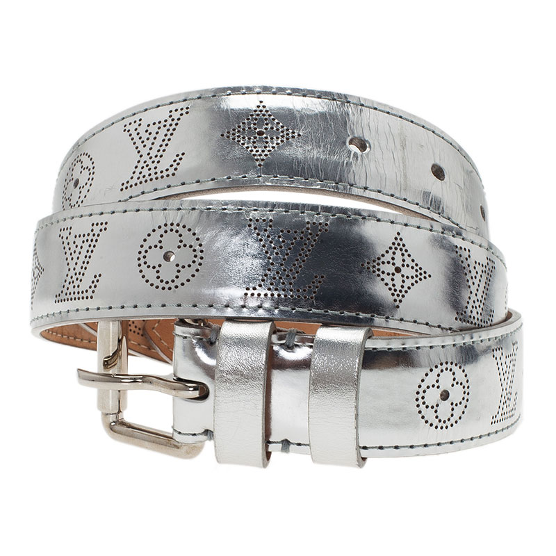 Louis Vuitton Silver Leather Mahina Perforated Belt Size 90CM