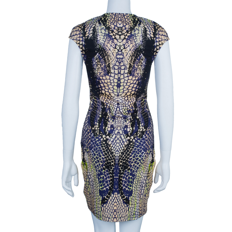 McQ By Alexander McQueen Crocodile Cap Sleeve Dress M